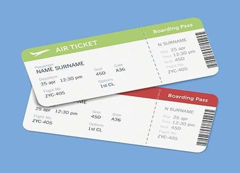 Set of the airline boarding pass tickets with shadow