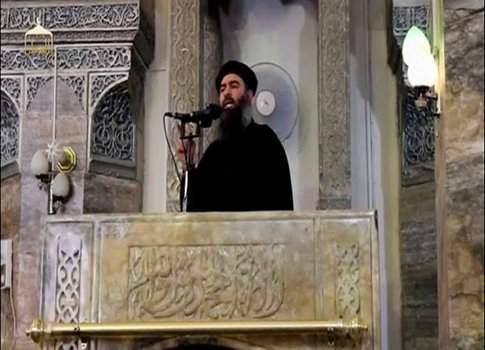 FILE PHOTO: Still image taken from video of a man purported to be the reclusive leader of the militant Islamic State Abu Bakr al-Baghdadi making what would have been his first public appearance in Mosul