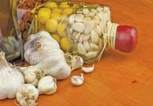 Garlic, aromatic ingredients for flavoring food. Home remedy for