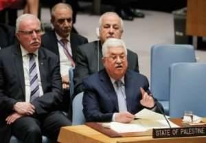 Abbas speaks during a meeting of the UN Security Council in New York